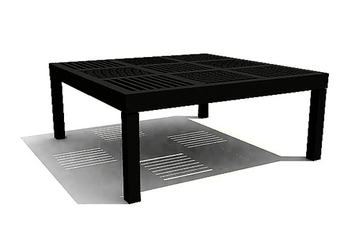 Black wood arts square table 3D models