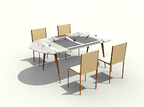Contracted type glass chair 3D models