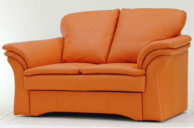 Orange two-men cloth art soft sofa 3D models