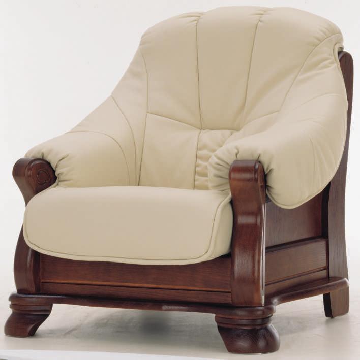European white wood bottom leather chair 3D models