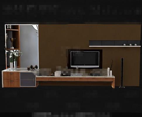 Modern wooden brown yellow TV cabinet