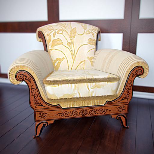 European luxury single sofa chair 3D Model