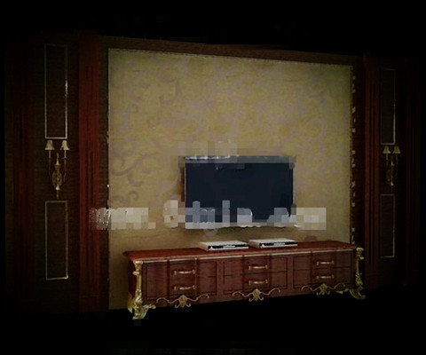 European style luxury gold TV wall