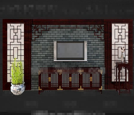 Chinese style retro red wooden TV wall