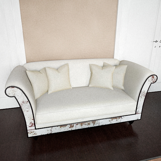 White pattern double sofa 3D models