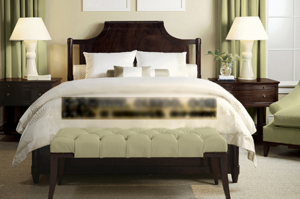 3D Model of European wooden double bed (with material)