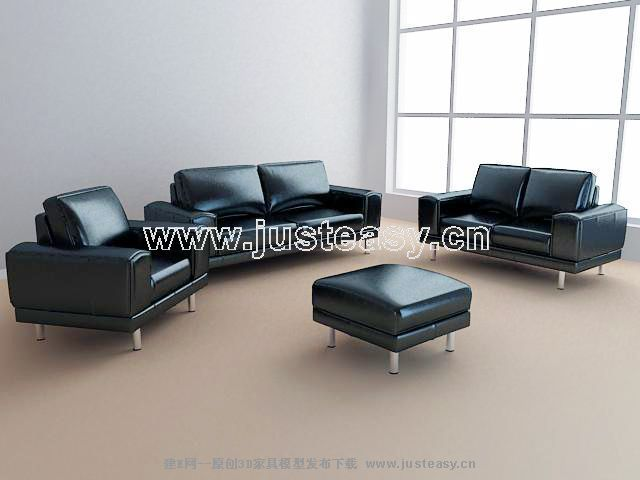 3D model of leather sofa business combination (including materials)