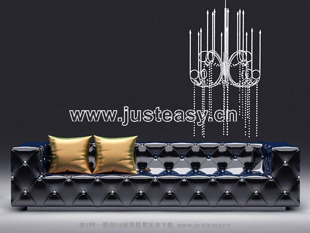 Shining over the sofa 3D Model of Gothic style (including materials)