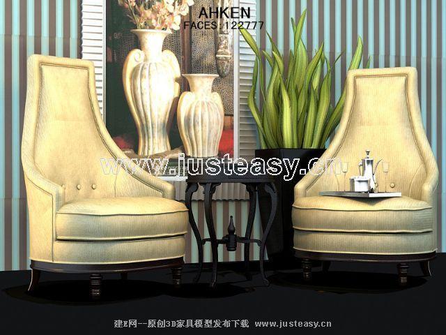 High back and elegant European-style single sofa