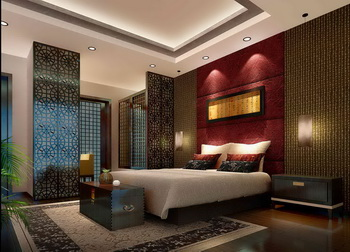 Chinese-style luxury bedroom scene model