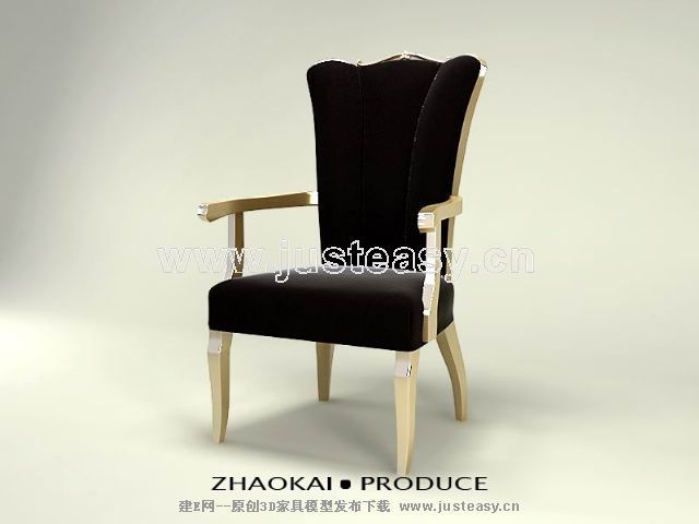 Black Gold single chair 3D model (including materials)