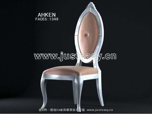 European-style wood chairs 3D Model (including materials)