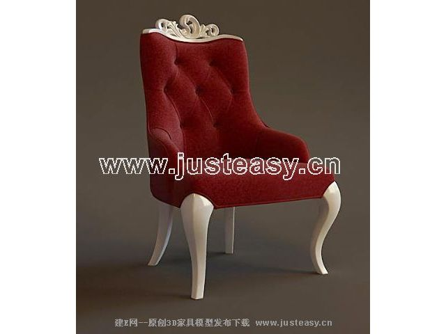 Mellow red chair 3D model (including materials)