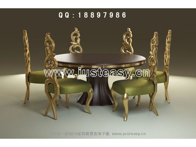 European-style round tables and chairs 3D Model (including materials)
