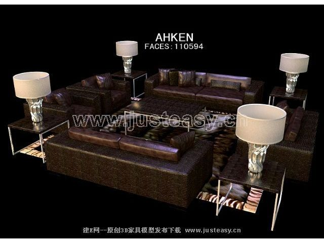 Furniture 3D model of the brown leather (with material)