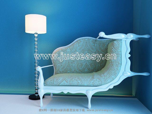New sofa 3D Model of European (including materials)