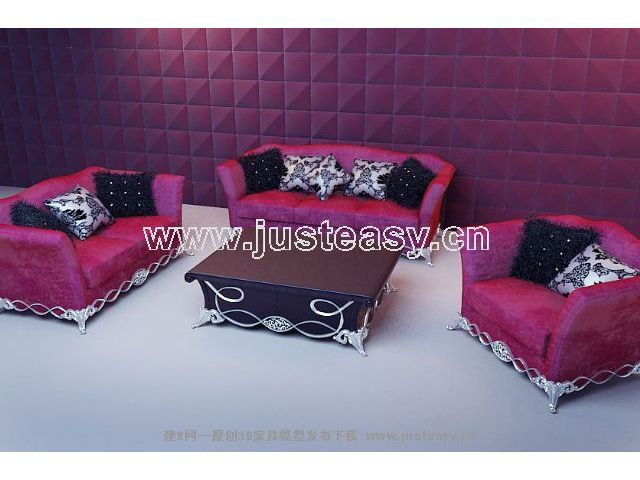 Soft red fabric sofa 3D model (including materials)