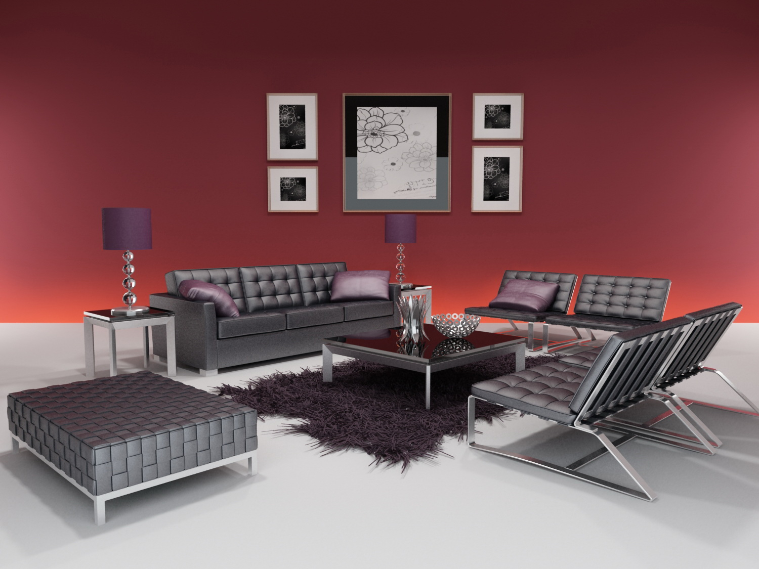 3d model of the whole furniture of modern style including materials