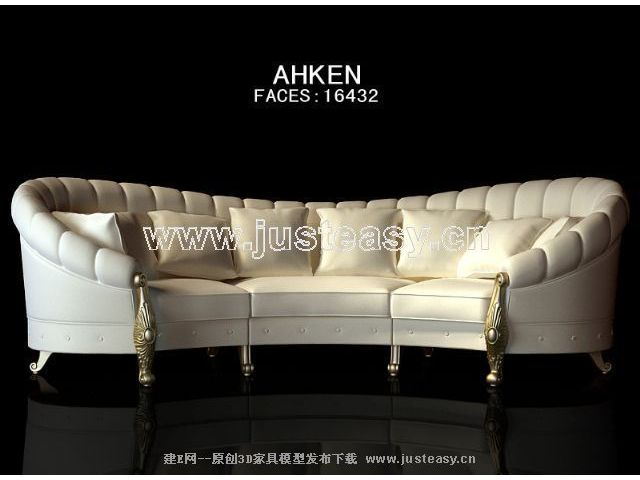 European yellow people sofa 3D model (including materials)