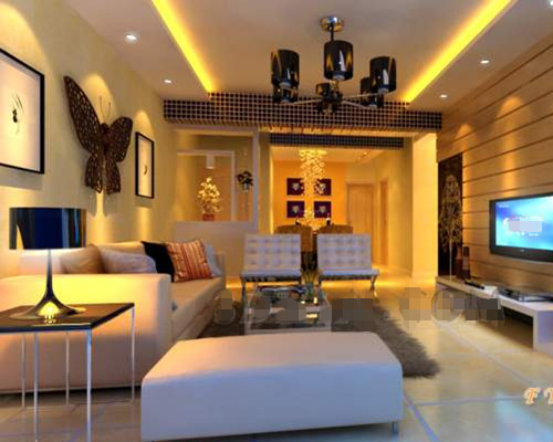 Gold modern warm living room