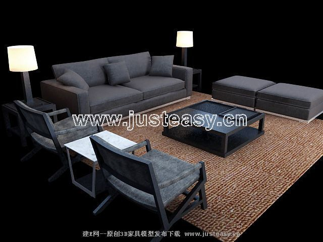 Simple combination of classical European-style black sofa