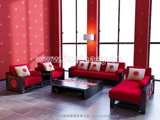 Big red sofa combination of modern Chinese