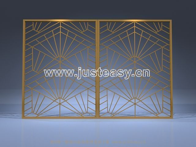 Yellow Wooden furnishings screen 3D model (including materials)