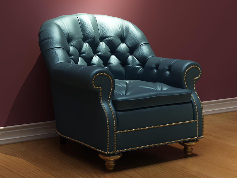 Retro leather sofa 3D model (including materials)