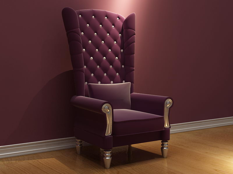 Purple high-backed armchair chair 3D model (including materials)
