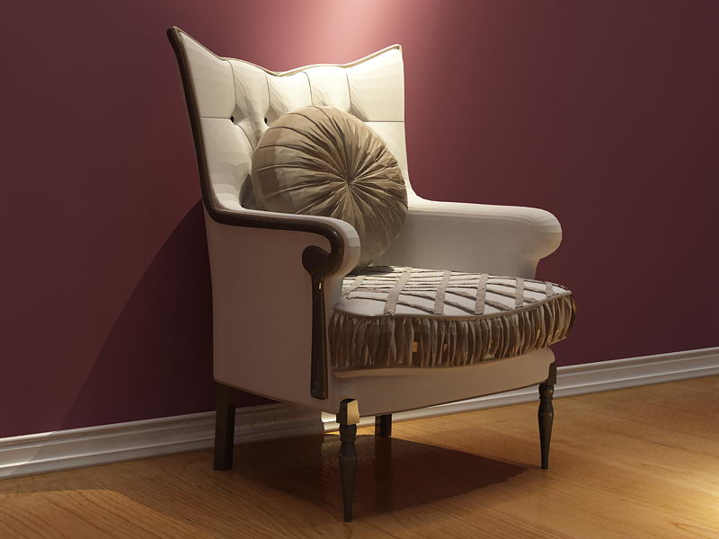 European-style high back and elegant single sofa 3D model (including materials)
