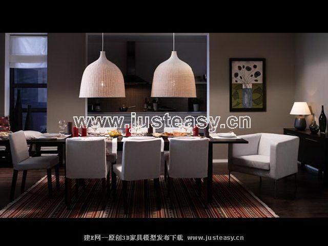 Black 3D model of a warm home dining tables and chairs (including materials)