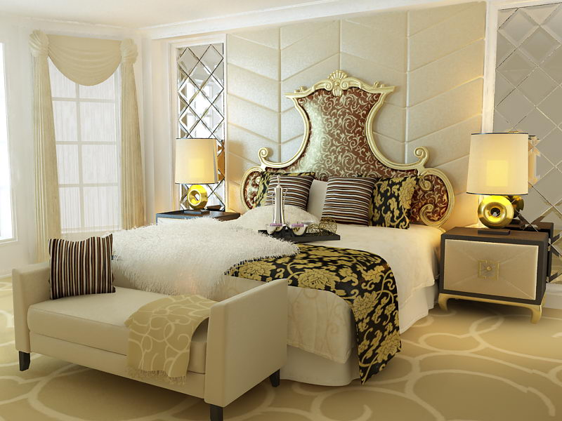 European aristocracy bed 3D model (including materials)