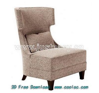 Gray high back sofa 3D model (including materials)