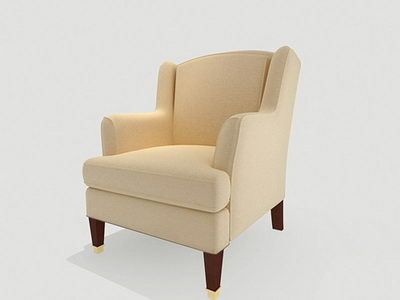 Classic beige fabric sofa 3D model (including materials)
