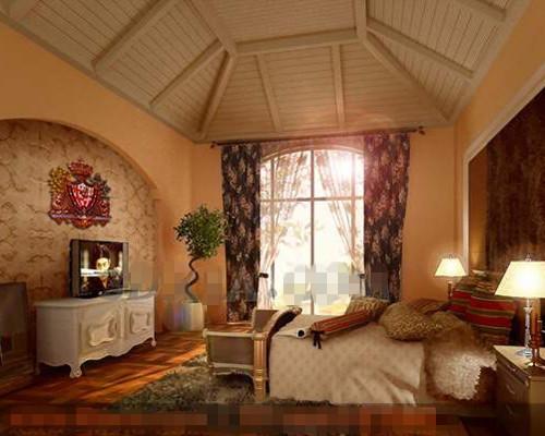 Exotic warm yellow bedroom