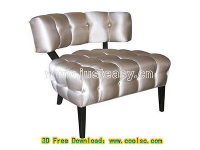 Silver stylish sofa 3D model (including materials)