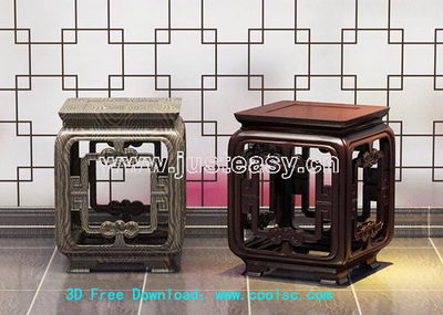 3D Model of Chinese carved wooden bench