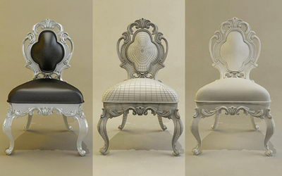 European luxury chair 3D Model