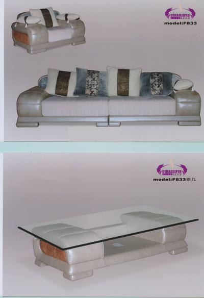 Light-colored sofa and coffee table 3D Model of Business