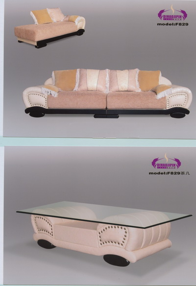 Yellow sofa and coffee table 3D Model of Office