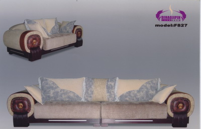 European style wooden fabric sofa 3D model