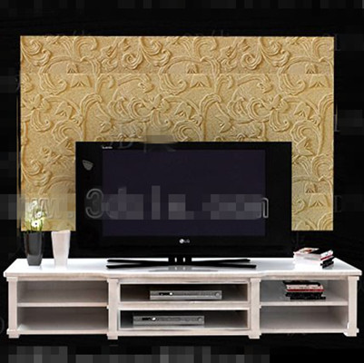 Modern white double layer TV cabinet