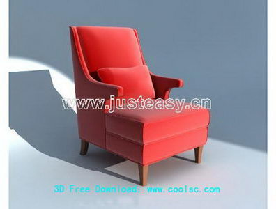 European red chair 3D model (including materials)