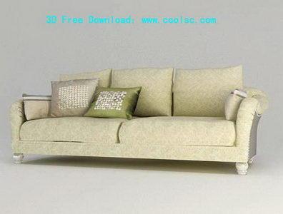 European fabric sofa 3D model grid (including materials)