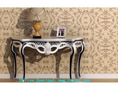 European table, 3D model (including materials)