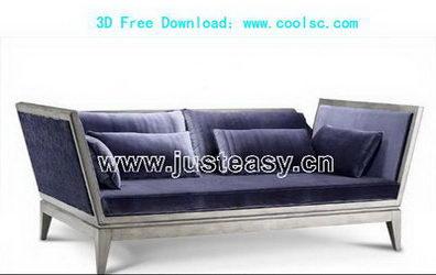 3D model of a blue sofa over portfolio (including materials)
