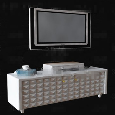 White simple diamond pattern TV cabinet