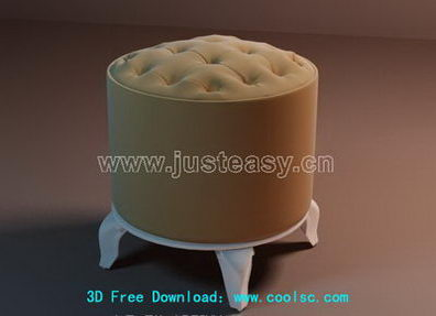 Fashion soft stool 3D model (including materials)
