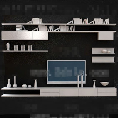 White personality bookshelf TV wall