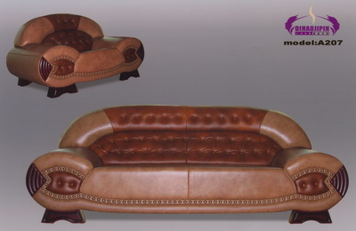 Dark red leather sofa 3D model over the boss